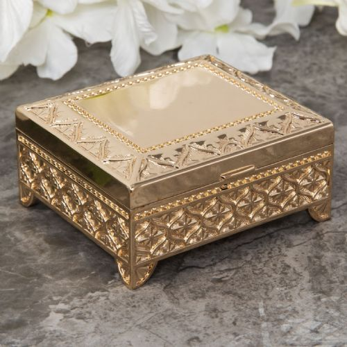 Gold Plated Vintage Style Trinket Box  - Gold Oblong Jewellery Box